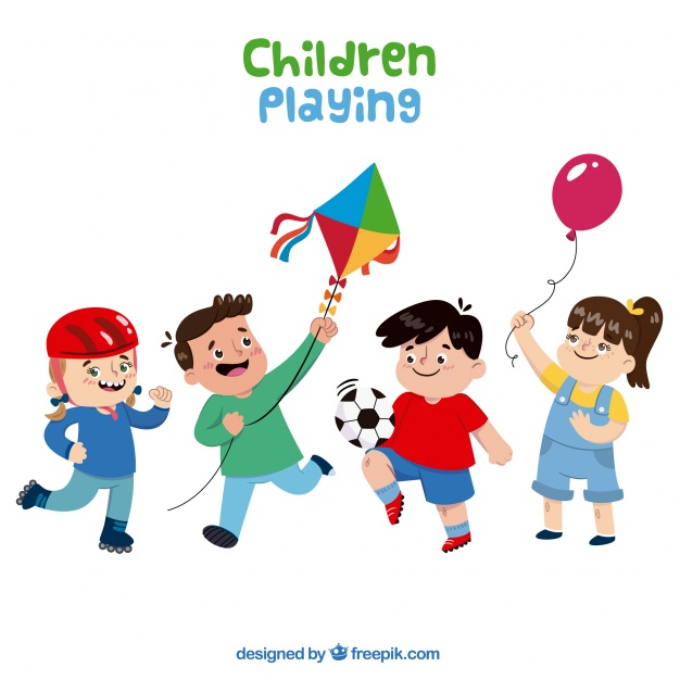 626x626 Several Happy Kids Playing Vector Free Download