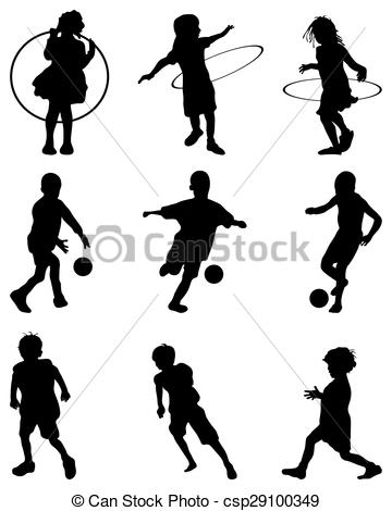 360x470 Silhouettes Of Children Playing, Vector.