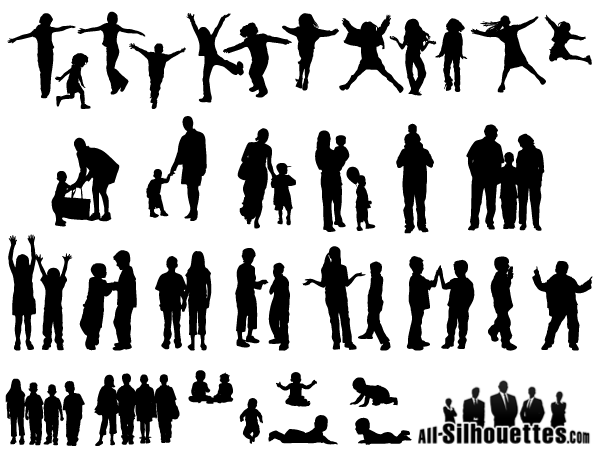 600x455 Free Vector Children, Kids, Teens Silhouettes 123freevectors