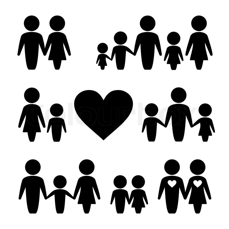 800x800 People Family Icons Set. Female, Male And Children Stock Vector