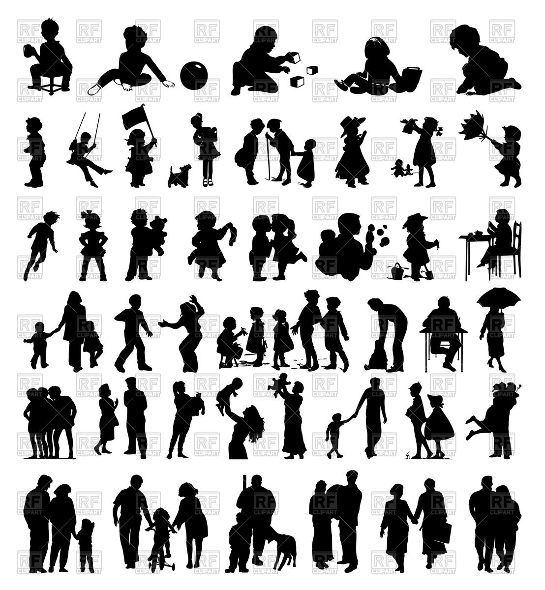 1108x1200 Silhouettes Of Family And Children Vector Image Vector Artwork