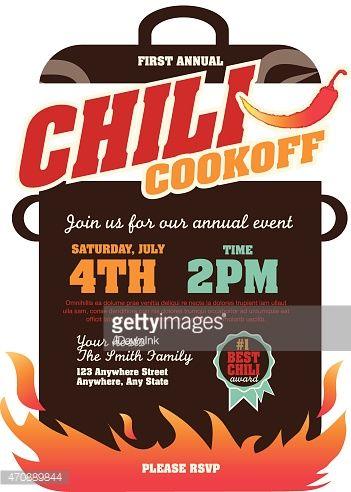 351x492 Vector Illustration Of A Chili Cookoff Invitation Design Template