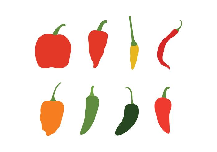 700x490 Different Chili Peppers Vector Pack