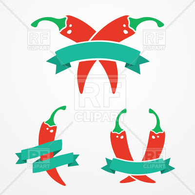400x400 Emblems With Red Chili Peppers And Ribbons Vector Image Vector
