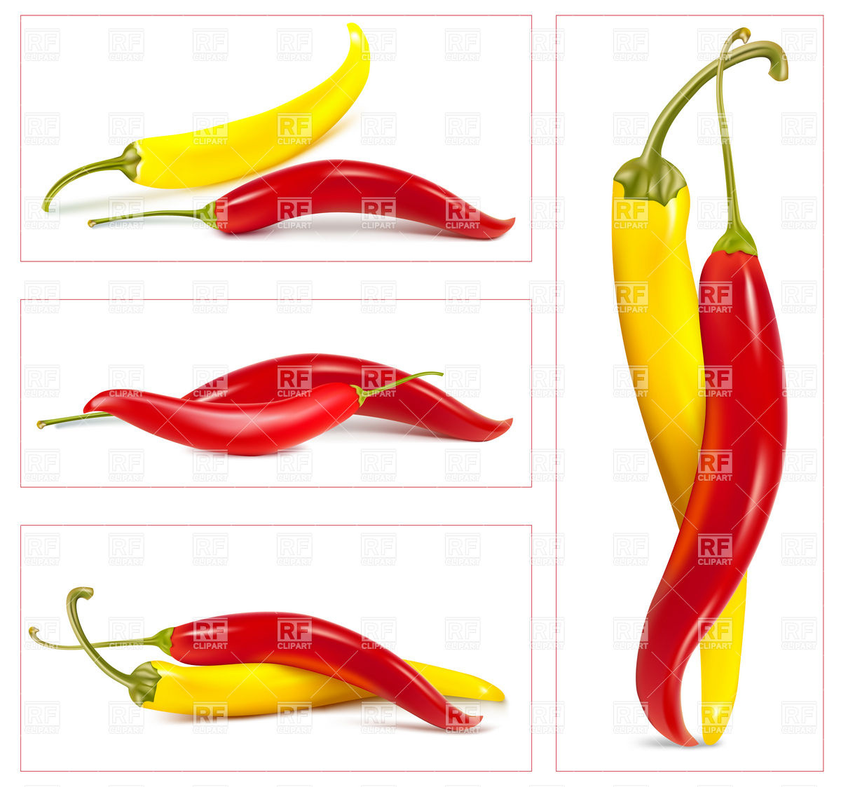 1200x1123 Yellow Red And Hot Chili Peppers Vector Image Vector Artwork Of
