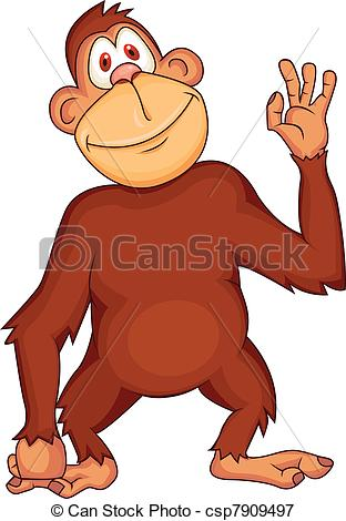 312x470 Chimpanzee Cartoon. Vector Illustration Of Funny Chimpanzee Cartoon.