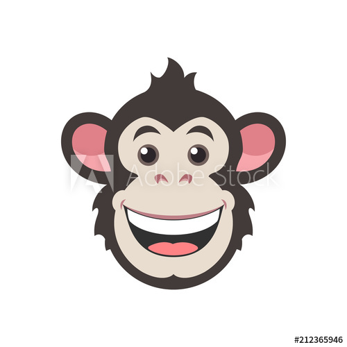 500x500 Chimpanzee Vector Design. Icon Monkey In Flat Style. Face Logo