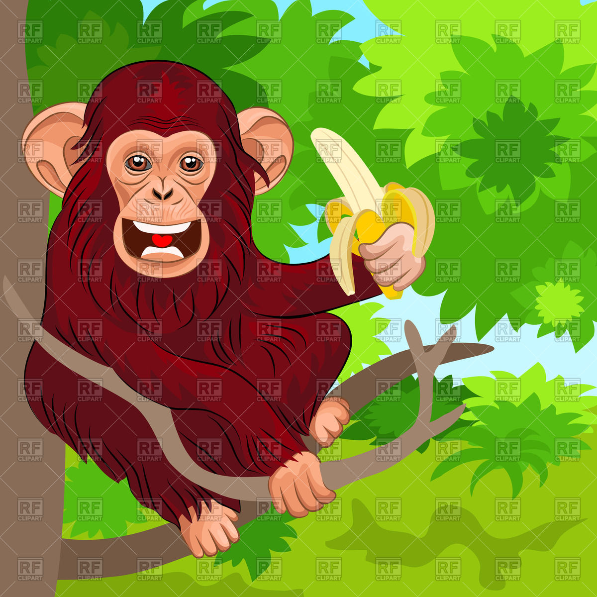1200x1200 Chimpanzee With Banana Sitting On The Tree Vector Image Vector