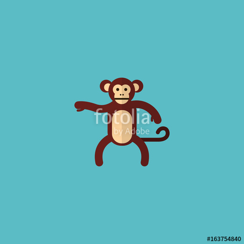 500x500 Flat Icon Monkey Element. Vector Illustration Of Flat Icon