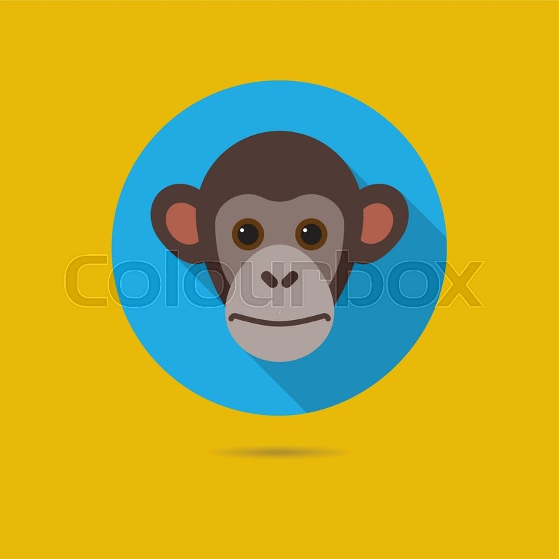 800x800 Flat Design Icon Of Cute Chimp Monkey Face Stock Vector Colourbox