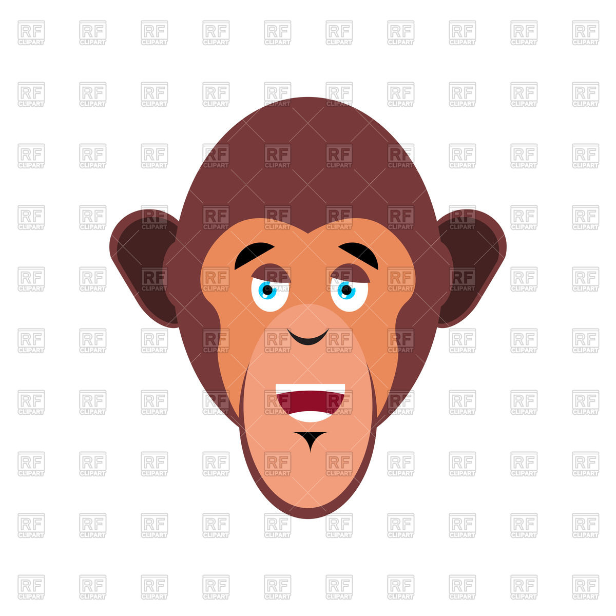 1200x1200 Happy Monkey Head, Chimpanzee Face Vector Image Vector Artwork