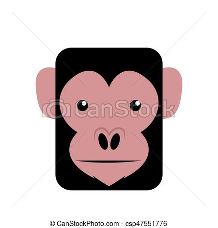 450x470 Isolated Abstract Chimpanzee On A White Background, Vector
