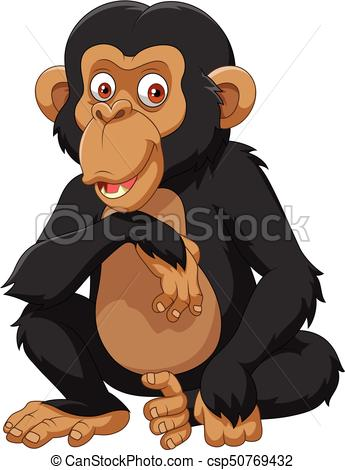 345x470 Vector Illustration Of Cartoon Chimpanzee Isolated On White