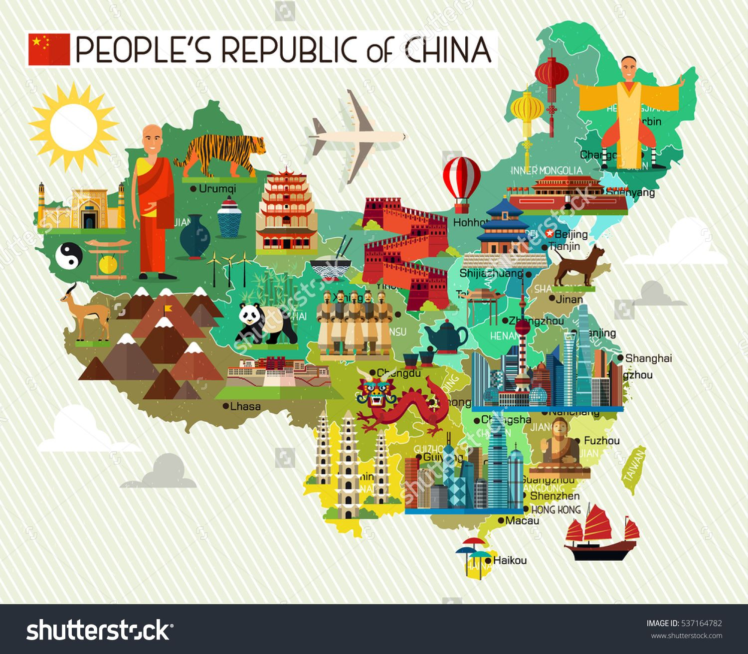 1500x1312 Map Of China And Travel Icons.china Travel Map. Vector