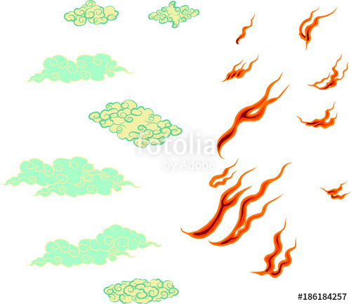 500x433 Japanese Fire Tattoo.hand Drawn Red Fire Vector Set.chinese Cloud