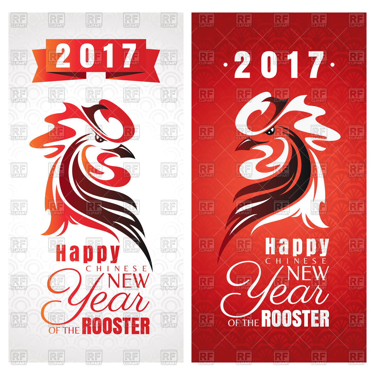 1200x1200 chinese new year greeting cards with rooster for 2017 year vector