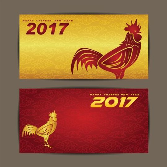 539x539 chinese new year 2017 of rooster vector cards 05