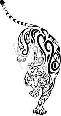 252x480 Chinese Tribal Tattoo Tiger Vector Graphics Of Tribal Tiger