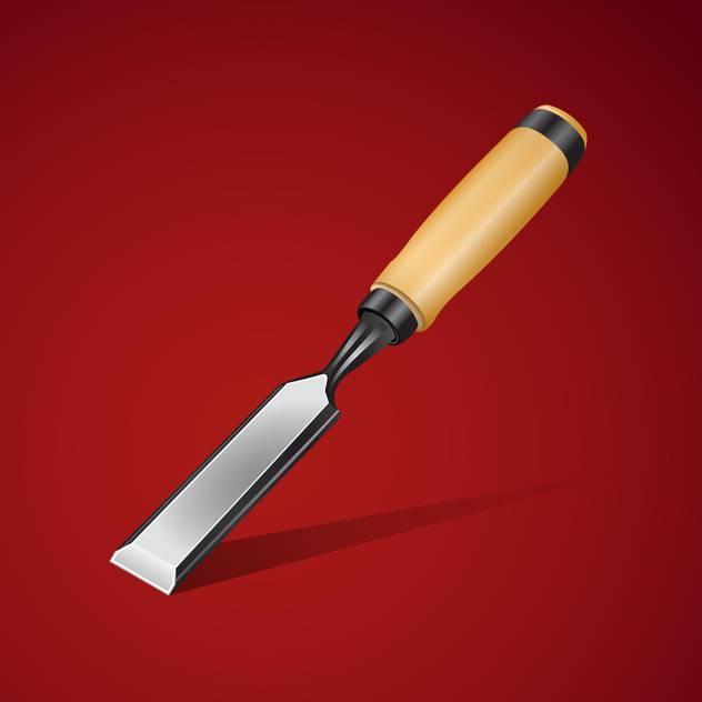 632x632 Vector Illustration Of Chisel On A Red Background Free Vector