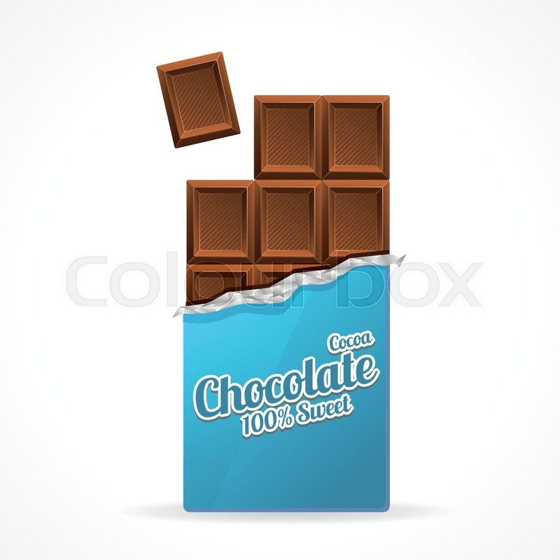 800x800 Vector Illustration Milk Chocolate Bar Open In Blue Wrapping Paper