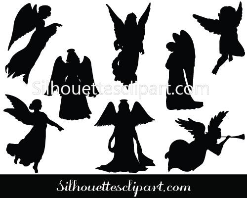 500x400 Christmas Angel Silhouette Vector Download Silhouettes Vector
