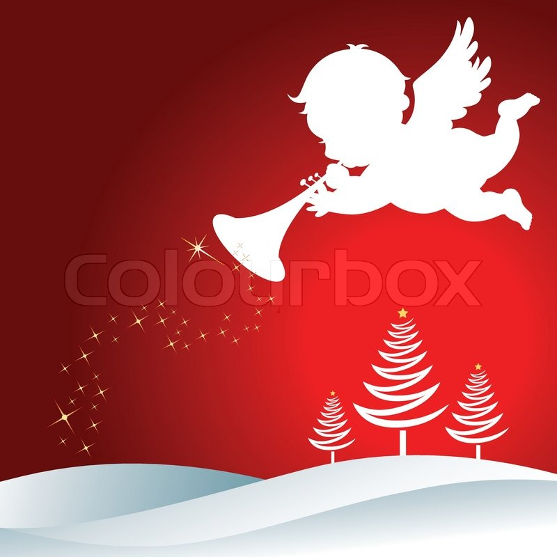 800x800 Christmas Angel With Trumpet Silhouette On Christmas Background