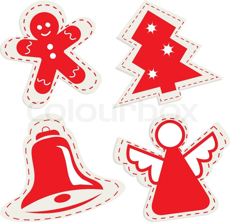 800x773 Christmas Icon Set With Ginger Bread, Christmas Tree, Little Bell