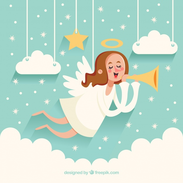 626x626 Cute Christmas Angel Background With Trumpet Vector Free Download