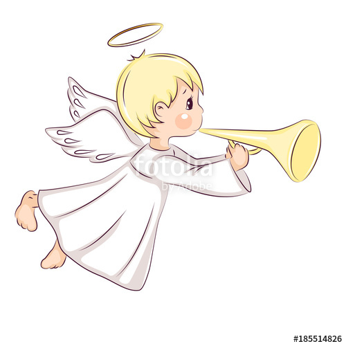 500x500 Cute Little Christmas Angel. Vector Isolated On White Background