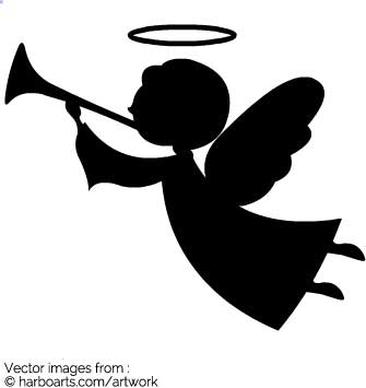335x355 Download Angel With Trumpet Silhouette
