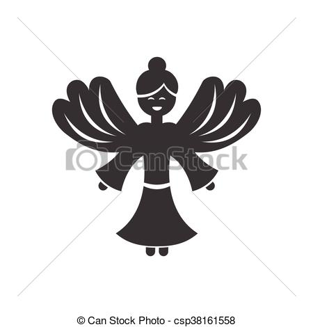 450x470 Flat Icon In Black And White Style Christmas Angel.