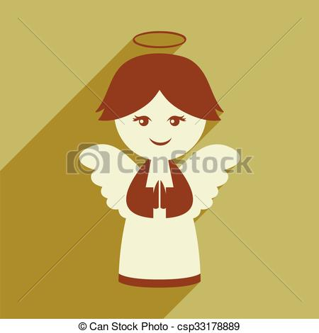 450x470 Flat Icon With Long Shadow Christmas Angel Vector