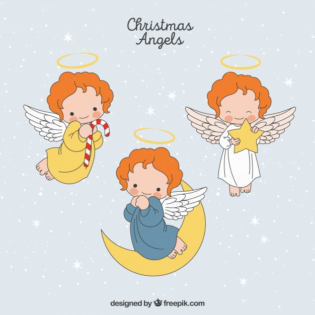 626x626 Set Of Hand Drawn Christmas Angels Vector Free Download
