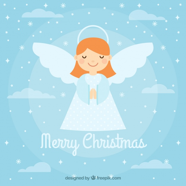 626x626 Background With A Cute Christmas Angel Vector Free Download