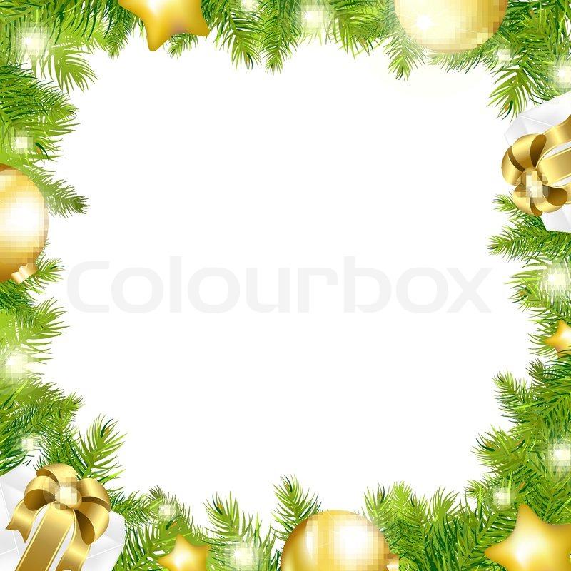 800x800 Christmas Background With Border, Isolated On White Background