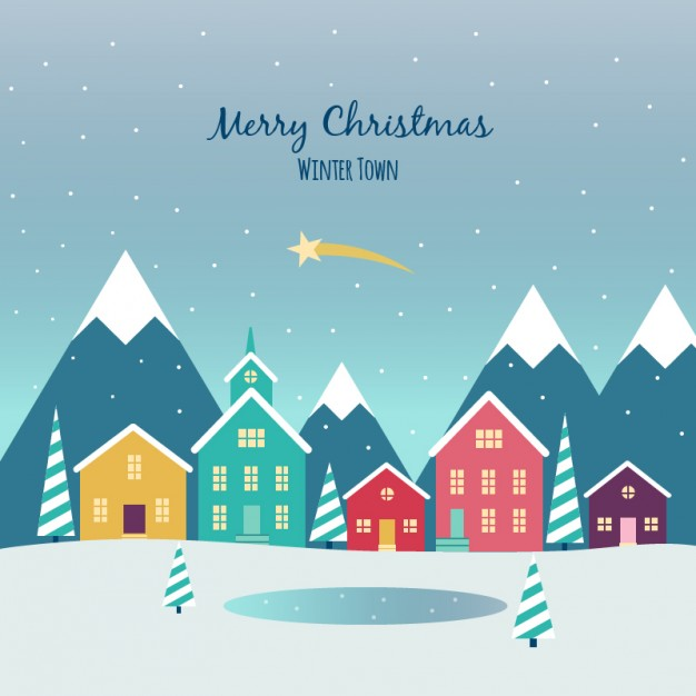 626x626 Christmas Town Flat Background Vector Free Download, Christmas