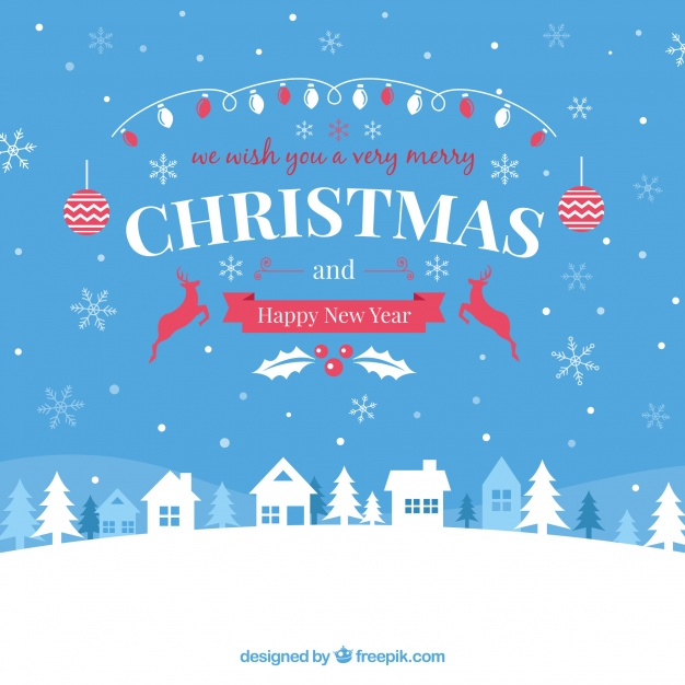 626x626 Christmas Background With Lovely Village Vector Free Download