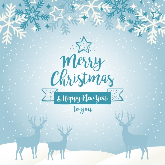 626x626 Blue Christmas Background With Silhouettes Of Reindeers And