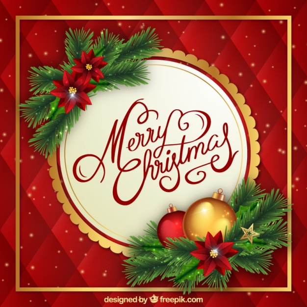 626x626 Christmas Background With Flowers And Baubles Vector Free Download