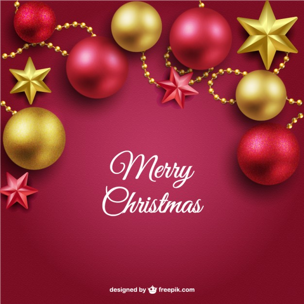 626x626 Merry Christmas Background With Red And Golden Balls Vector Free