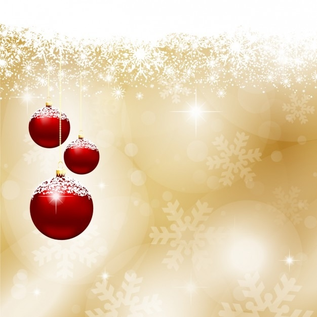 626x626 Red Christmas Balls On Gold Background Vector Free Download In