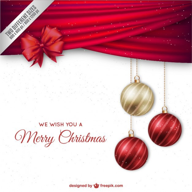 626x626 Vector ] Christmas Background With Elegant Baubles And Red Ribbon