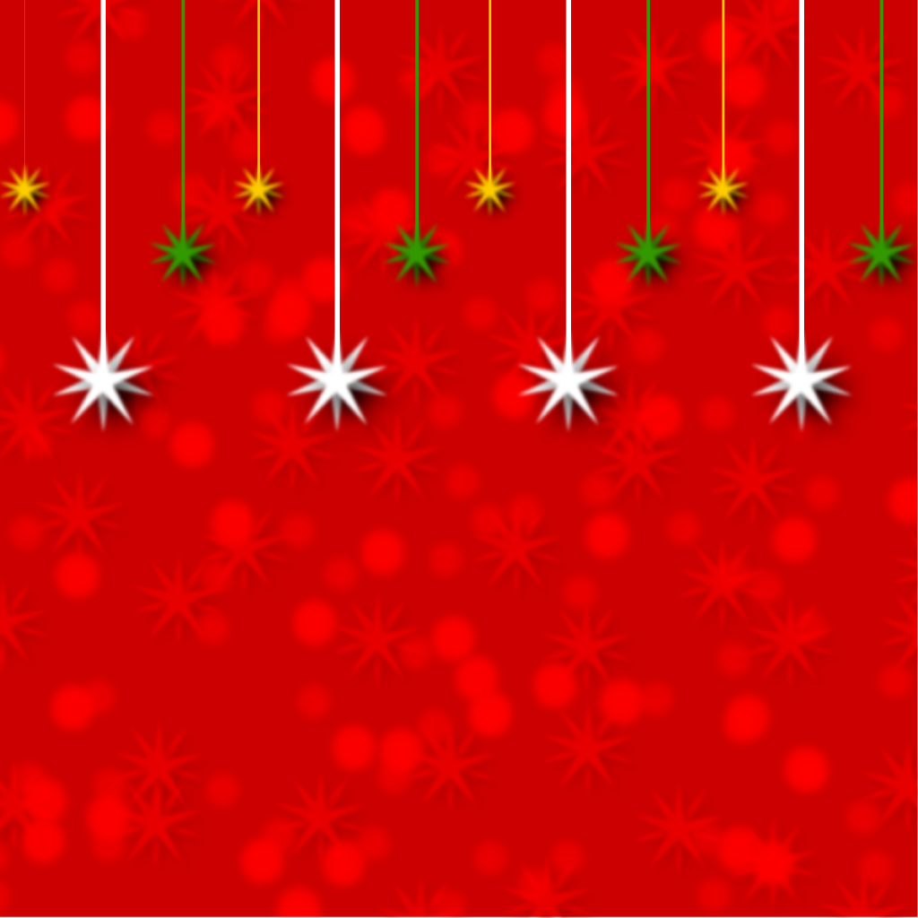 1024x1024 Bright Red Christmas Decoration Hanging Stars Background Vector