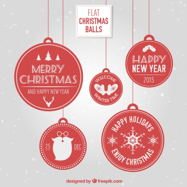 626x626 Flat Christmas Balls Vector Free Download