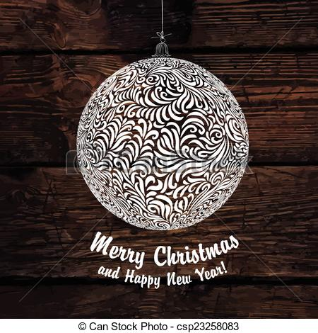 450x470 Merry Christmas Ball. Vector.