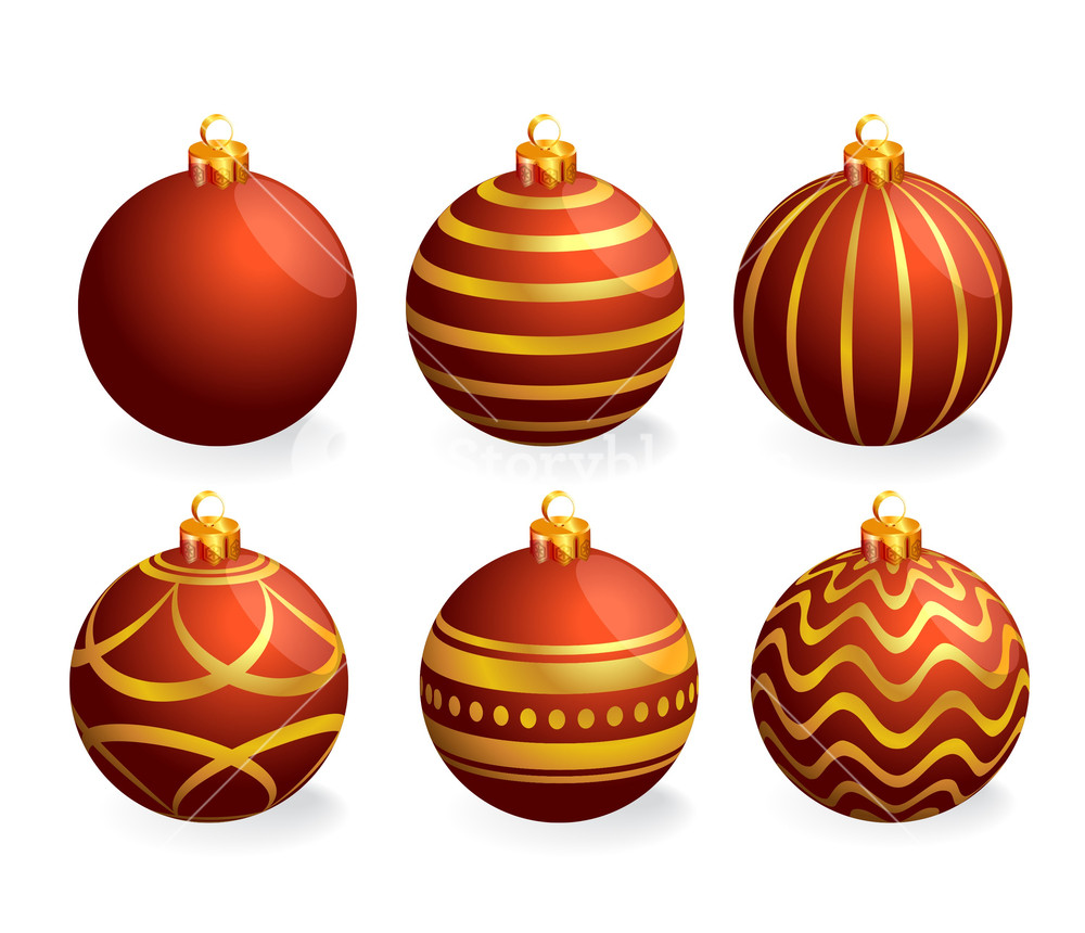 1000x860 Red And Gold Christmas Balls. Vector. Royalty Free Stock Image