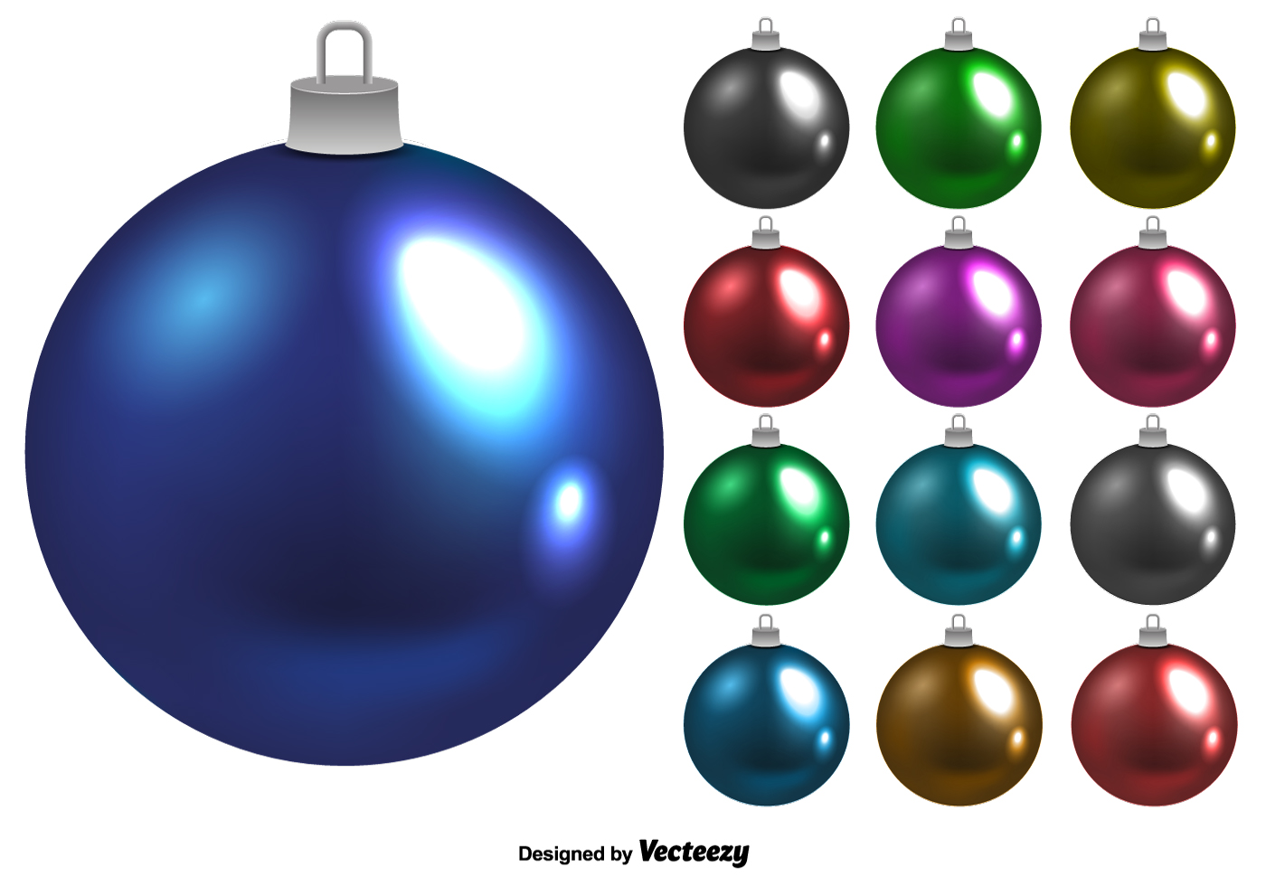 1400x980 Shiny Vector Christmas Balls Set