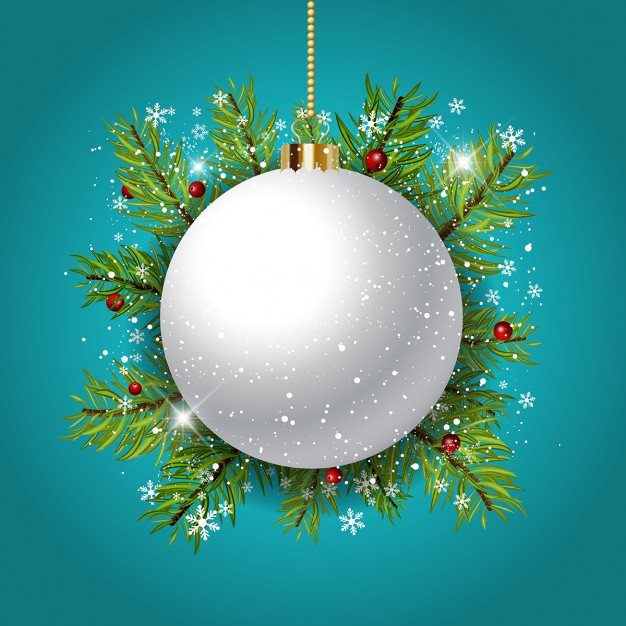 626x626 Blue Background With A White Christmas Ball Vector Free Download