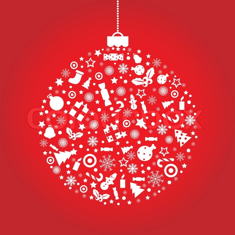800x800 Christmas Ball, On Red Background, Vector Illustration Stock