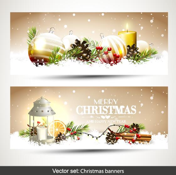 561x559 Christmas Banners With Baubles Decor Vector Free Download